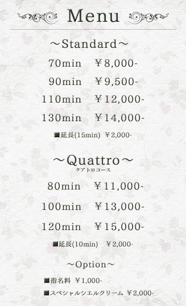 札幌メンズエステミリミリのメニュー表です。